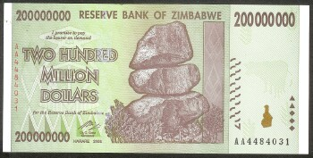 Zimbabwe Pick # 81 200 million dollars AA prefix