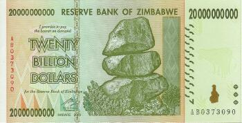 Zimbabwe Pick # 86 20 Billion dollars