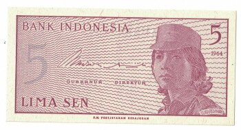 Indonesia Cat # 91 5 sen