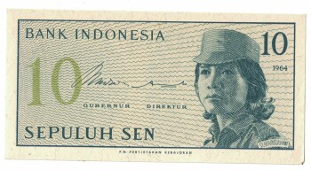 Indonesia Cat # 92 10 sen
