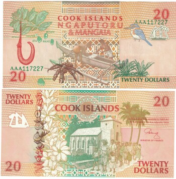 Cook Islands Cat # 9 20 dollars
