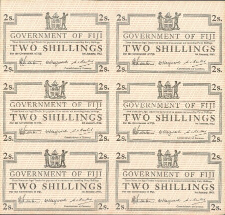 Fiji Cat # 50r2 2 shillings UNCUT SHEET