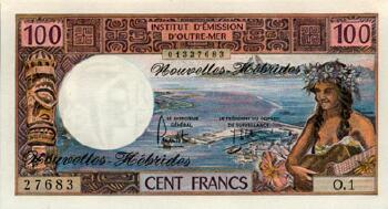 New Hebrides Cat # 18d 100 francs