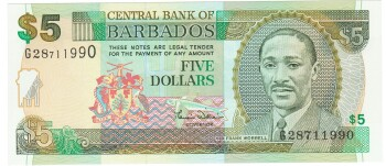 Barbados Cat # 61 5 dollars