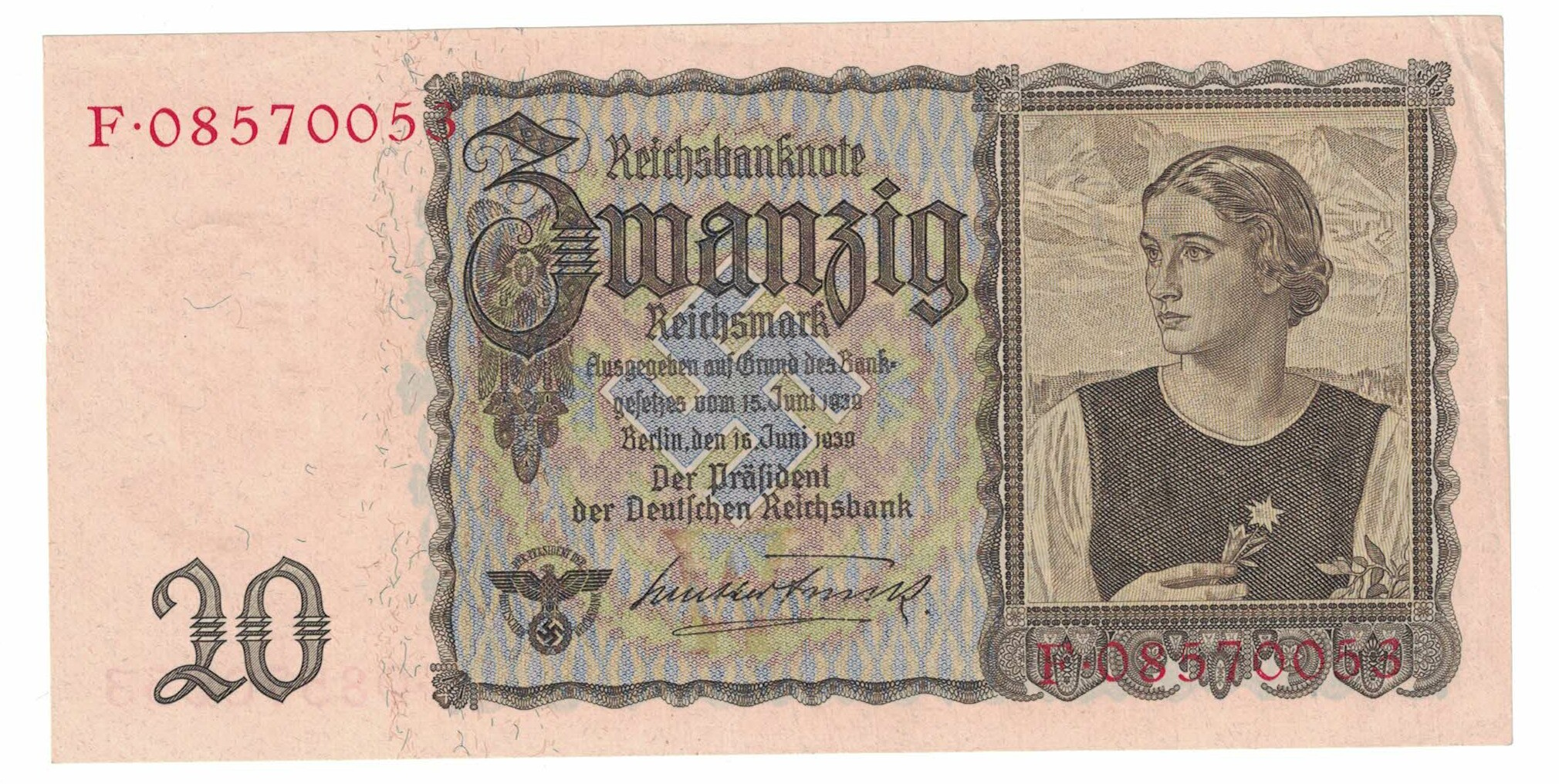 Germany Cat  # 185 20 reichsmark mark