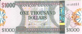 Guyana Cat # 39 1000 dollars