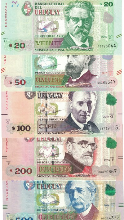 Uruguay 5-Note Set 2017 issues