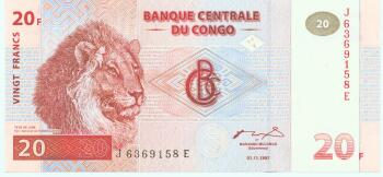 Congo Dem. Rep.  Cat # 88A 20 francs