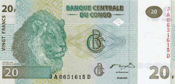 Congo Dem. Rep. Cat # 94 20 francs