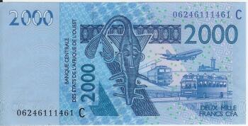 West African States (Togo) Pick # 816T 2000 francs 2013