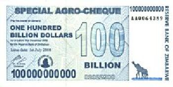 Zimbabwe # 64 100 Billion dollars