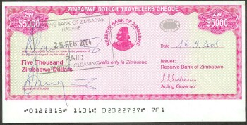 Zimbabwe # 16 5000 Dollars XF/better signed