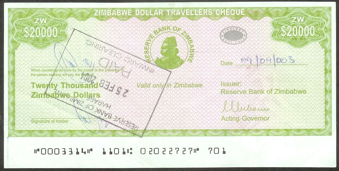Zimbabwe # 18 20000 Dollars XF/better signed