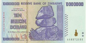 Zimbabwe # 85 10 Billion dollars