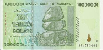Zimbabwe # 88 10 trillion dollars REPLACEMENT NOTE