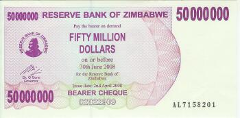 Zimbabwe # 57 50 Million dollars