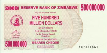 Zimbabwe # 60 500 Million dollars