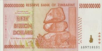 Zimbabwe # 87 50 Billion dollars AA Prefix