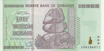 Zimbabwe # 90 50 trillion dollars REPLACEMENT NOTE