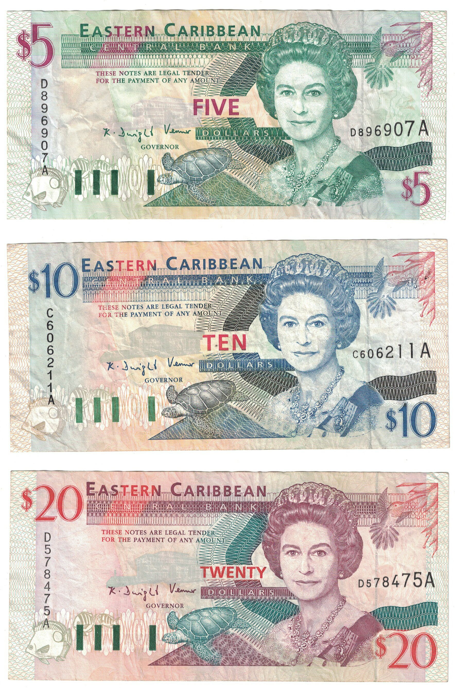 E.C.S. Antigua 3-Note Set $5-$20 CIRC #26