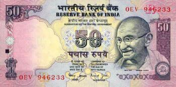 "India New 2007 ""R"" Issue 50 rupees"