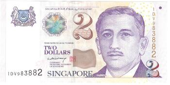 Singapore # 46a 2 dollars