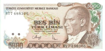 Turkey # 198 5000 lira