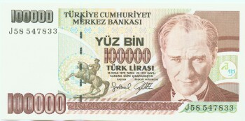 Turkey # 206 100,000 lira