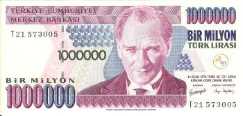 Turkey # 213 1,000,000 lira