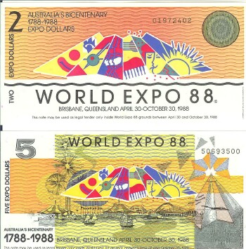 Australia Bicentenary World Exposition pair $2 $5