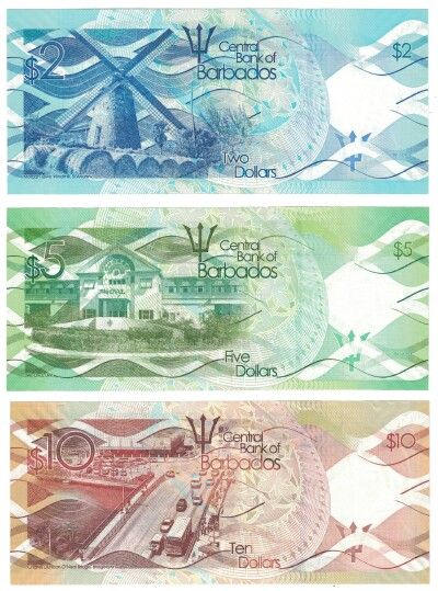 Barbados 2013 3-Note Set $2-$10