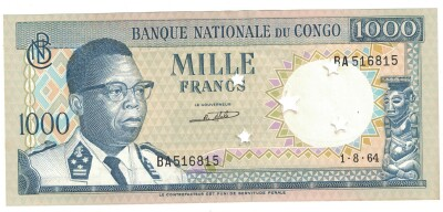 Congo Dem. Rep. # 8 1000 francs cancelled