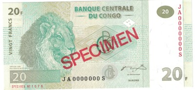 Congo Dem. Rep. # 94As 20 francs SPECIMEN