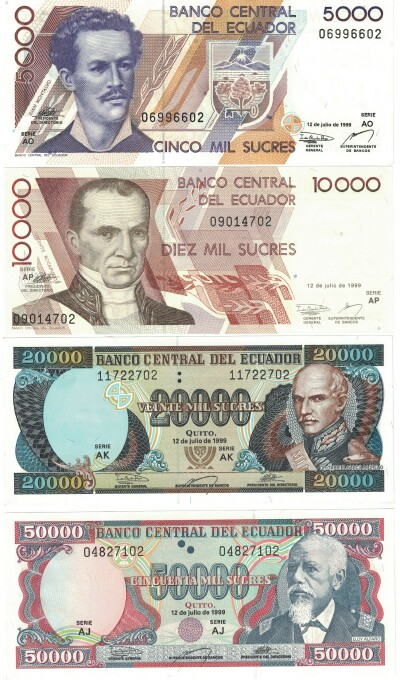 Ecuador 1999 4-note set 5000-50000