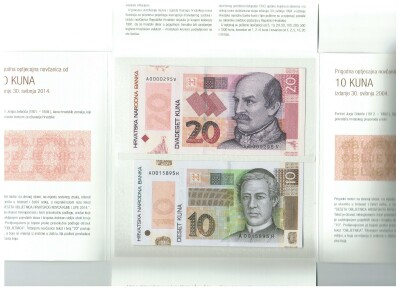 Croatia New 2014 Comemorative Folder 10 & 20 kuna
