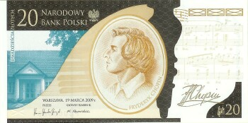 Poland # 181 Chopin Commemorative 20 zlotych w/folder