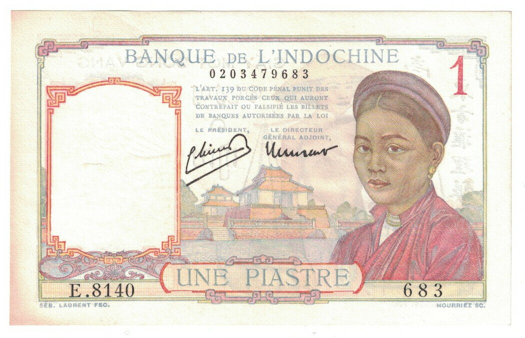 French Indo-China #54d 1 piastre CIRC #28
