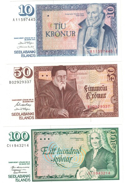 Iceland 3-Note Set 10,50,100 kronur