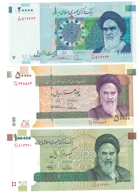 Iran 3-note set 20,000-100,000