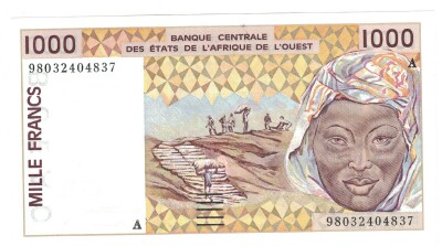 West African States (Ivory Coast) # 111Ah 1000 francs