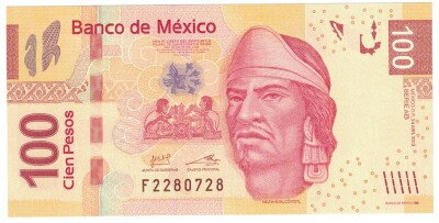 Mexico Cat # 124h 100 pesos