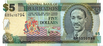 Barbados Cat # 67a 5 dollars
