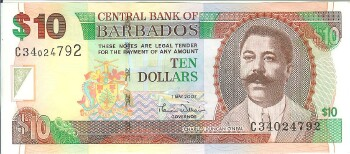 Barbados Cat # 68a 10 dollars