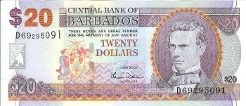 Barbados Cat # 69a 20 dollars