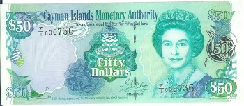 Cayman Islands # 29r 50 dollars REPLACEMENT # 736