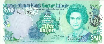 Cayman Islands # 29r 50 dollars REPLACEMENT # 737