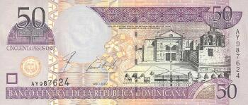 Dominican Republic # 176a 50 pesos oro