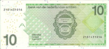 Netherlands Antilles Cat # 28e 10 gulden