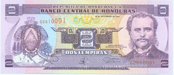 Honduras Cat # 80A 2 lempiras (2006 Issue)