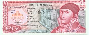 Mexico Cat # 64b 20 pesos